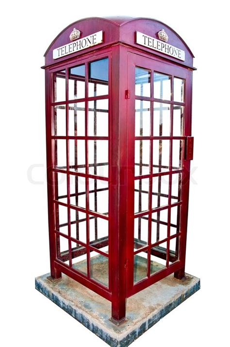 the british red phone booth isolated on white background