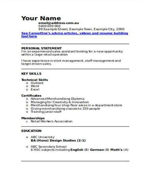 Printable Resume Sles by 30 Printable Sales Resume Templates Pdf Doc Free
