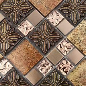 Glass, Tile, Brown, Glass, Mosaic, Tiles, Crystal, Glass, Tile