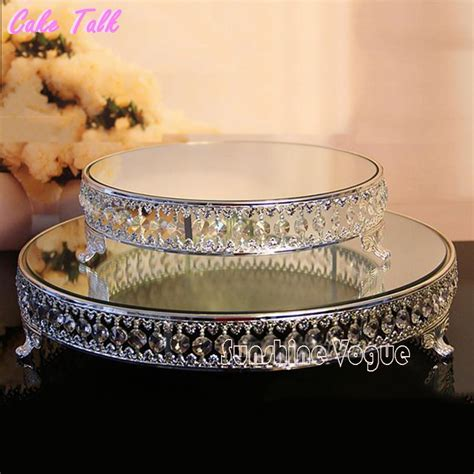 18 inch Crystal beads cake stand silver/gold plated mirror