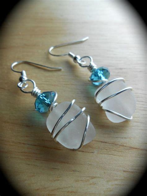 sea glass earrings beach glass jewelry