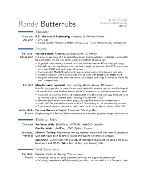 critique of entry level mechanical engineer resume forged
