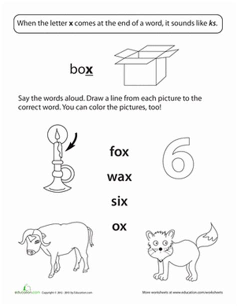two letter x words ending sounds x worksheet education 25355 | sounds phonics first grade