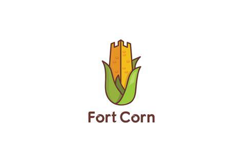 fort corn farming logo design logo cowboy