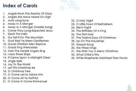 List Of Christmas Carols