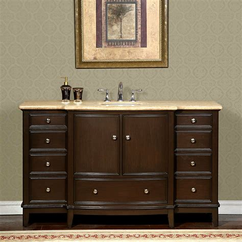 Vanity In - 60 inch travertine counter top bathroom single sink
