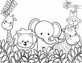 Coloring Cute Animals Animal Pages Jungle sketch template