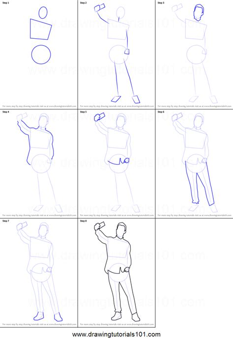 draw  man  selfie printable step  step