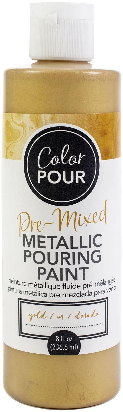 american crafts color pour pre mixed metallic paint 8oz gold walmart com
