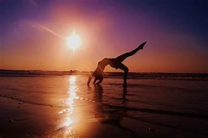 Yoga Wallpapers Gymnastics Sunset Background Backgrounds Sea
