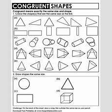 Congruent Shapes Worksheet  Free Printable Worksheets  Shapes Worksheets, Worksheets, 3d