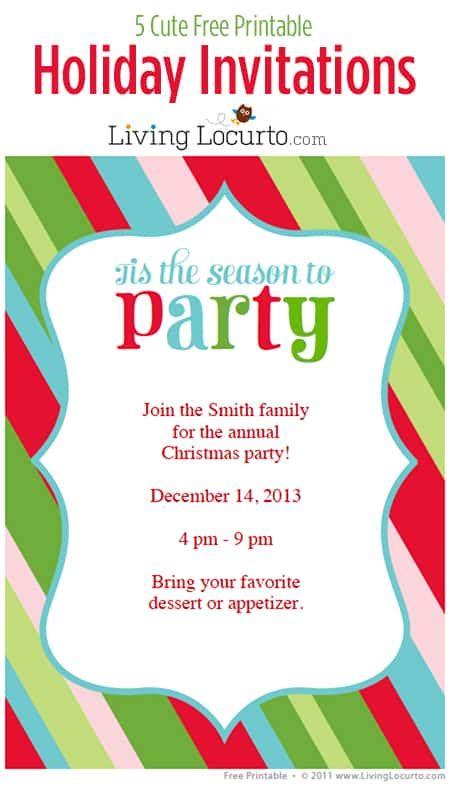 free printable christmas invitations template 5 free printable invitations