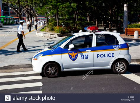 Police Car In Seoul, South Korea Stock Photo