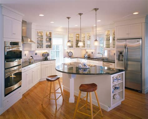 round kitchen islands Kitchen Traditional with accent