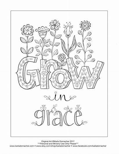 Grace Coloring Grow God Growing Faith Scripture