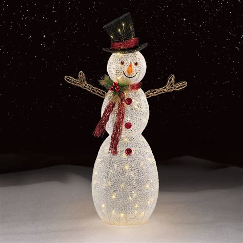 white mesh led snowman holiday decorations  kmart