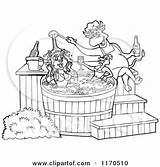 Tub Bbq Chef Cartoon Bull Chicken Sauce Pig Clipart Female Pouring Royalty Outlined Couple Lafftoon Clip Vector Template Illustrations Poster sketch template