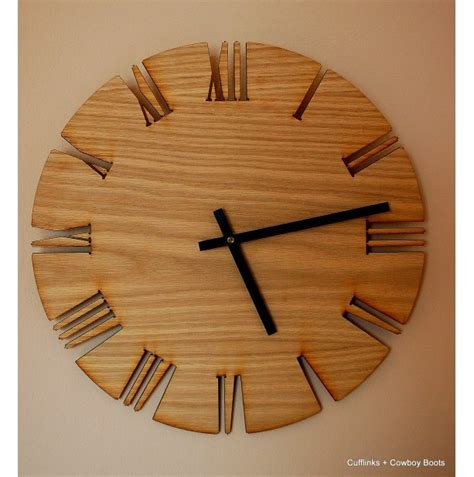 unique roman style wood wall clock cutout white oak clock