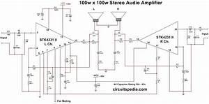 Stk4231 Ii 100w 100w Stereo Audio Amplifier Circuit Diagram  100 Watts Amplifier