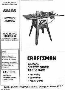 Craftsman 113226640 User Manual 10 Inch Direct Drive Table