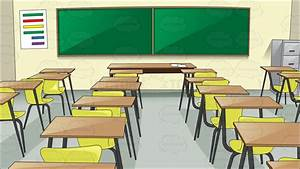 A Basic Classroom With Chairs And Desk Cartoon Clipart ...