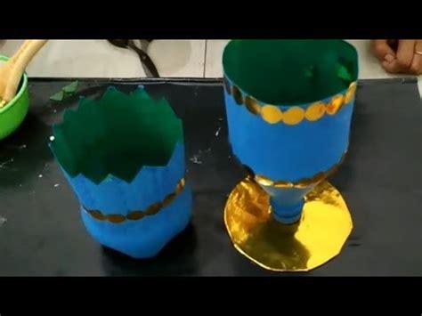 membuat pot bunga indah botol bekas youtube