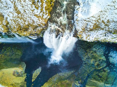 wallpaper skogafoss waterfall aerial view iceland