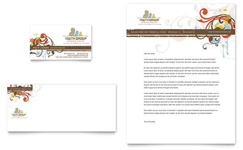church youth group business card letterhead template