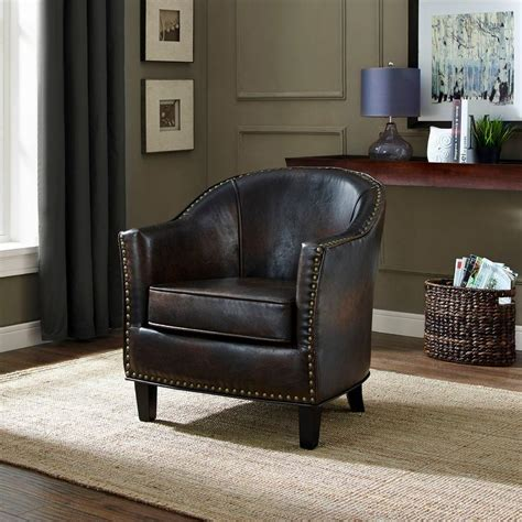 simpli home kildare distressed brown bonded leather arm