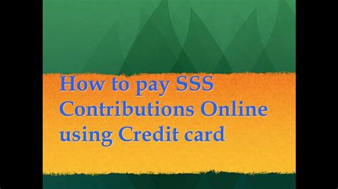 Learn about how credit cards works, and gain insights on how to manage your spending. How to pay SSS Contributions Online using Credit Card - YouTube