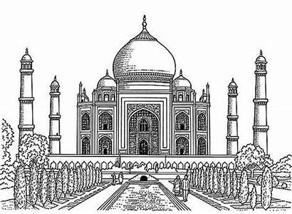 Mahal Taj Drawing Coloring Realistic Drawings Pages