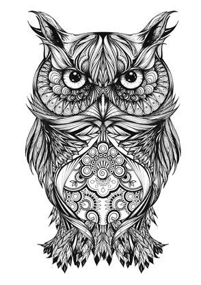 Illustration | Portraits | Typography | Hand Drawn | coloring for adults | Tattoos, Tribal owl