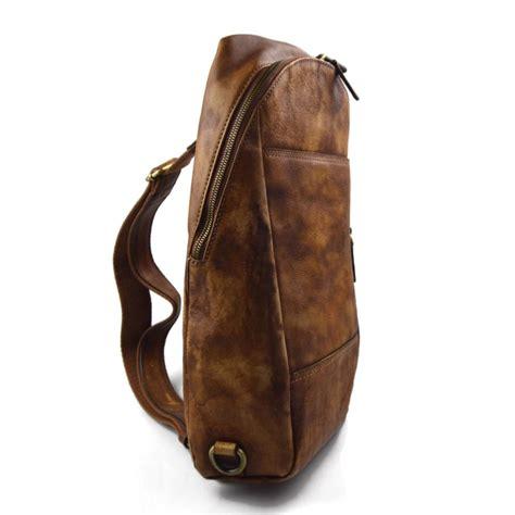 mens waist leather shoulder bag hobo bag travel  brown