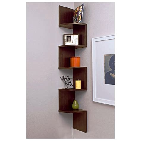corner shelf wall unit  tier zig zag floating corner