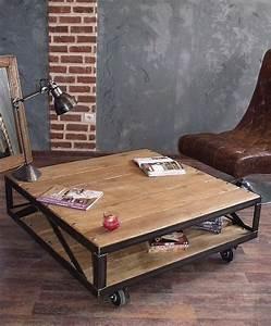 Table Basse Industrielle Carrée : meuble industriel l 39 esprit loft vos mesures table basse industrielle ~ Teatrodelosmanantiales.com Idées de Décoration
