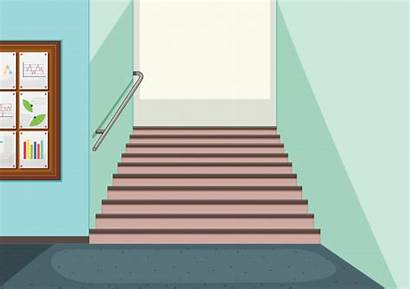 Vector Hallway Staircase Background Empty Stairs Clipart