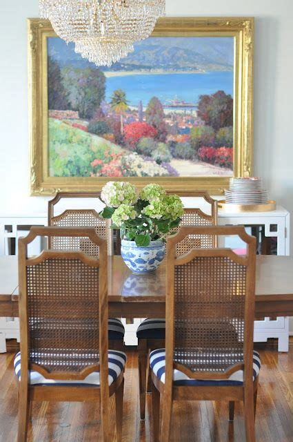 dining room striped fabric  recover chair cushions