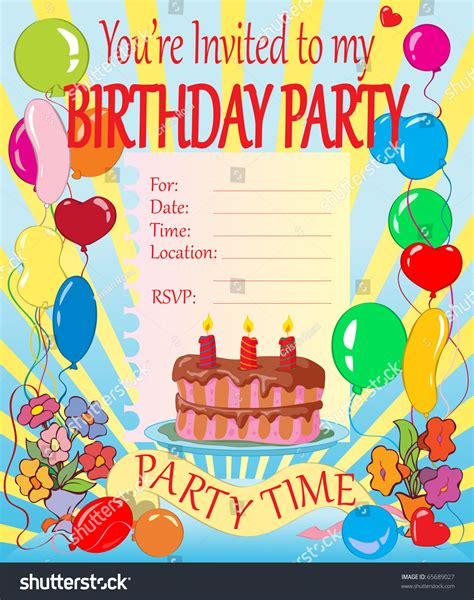 Vector Illustration Birthday Party Invitation For Kids