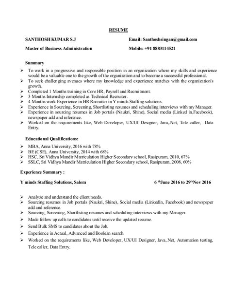 Technical Recruiter Resume Summary by Santhosh Technical Recruiter