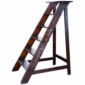 Antique, Wooden, Library, Ladder, From, Belgium, At, 1stdibs