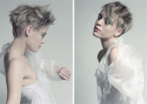 chopped  feathery short hairstyle silver gray hair color