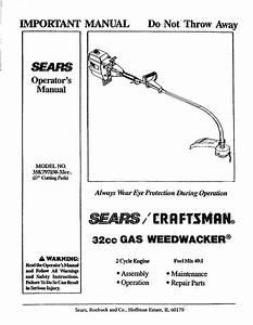32 To 1 Fuel Mix Chart Craftsman 358 797150 32cc Important Operator S Manual