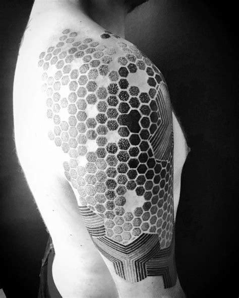 80 Honeycomb Tattoo Designs For Men - Hexagon Ink Ideas
