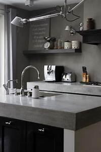 Plan De Travail De Cuisine : cuisine blanche plan de travail gris ~ Edinachiropracticcenter.com Idées de Décoration