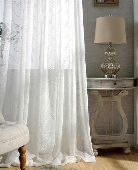 white chevron sheer curtains custom made to order upto