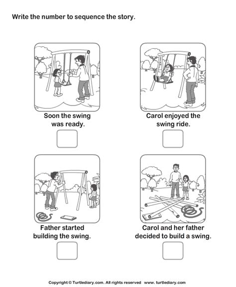 story sequencing carol and swing worksheet turtle diary