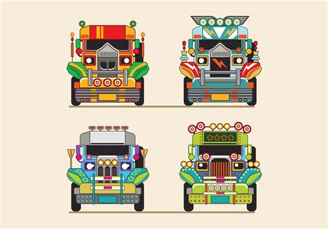 jeepney philippines art philippine jeep vector illustration or jeepney front view