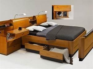 Lit Avec Rangement Intégré : lit avec rangement bois ~ Teatrodelosmanantiales.com Idées de Décoration