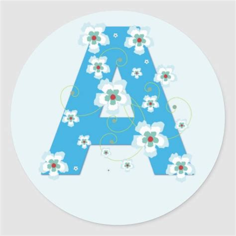 monogram initial  pretty blue floral stickers