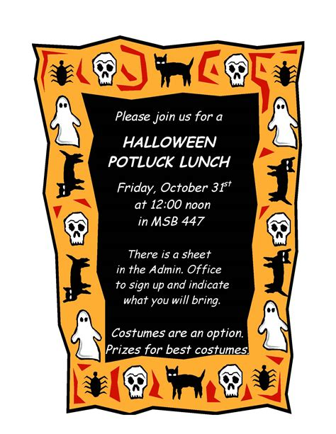 Halloween Potluck Invitation Ideas by Halloween Potluck Invitation Festival Collections